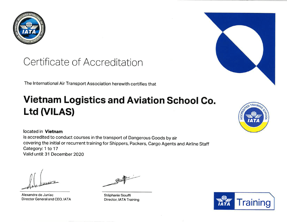 VILAS - IATA Certificate of Accredited