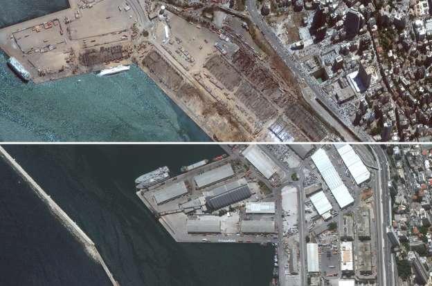 Hình ảnh cảng Beirut trước và sau vụ nổ