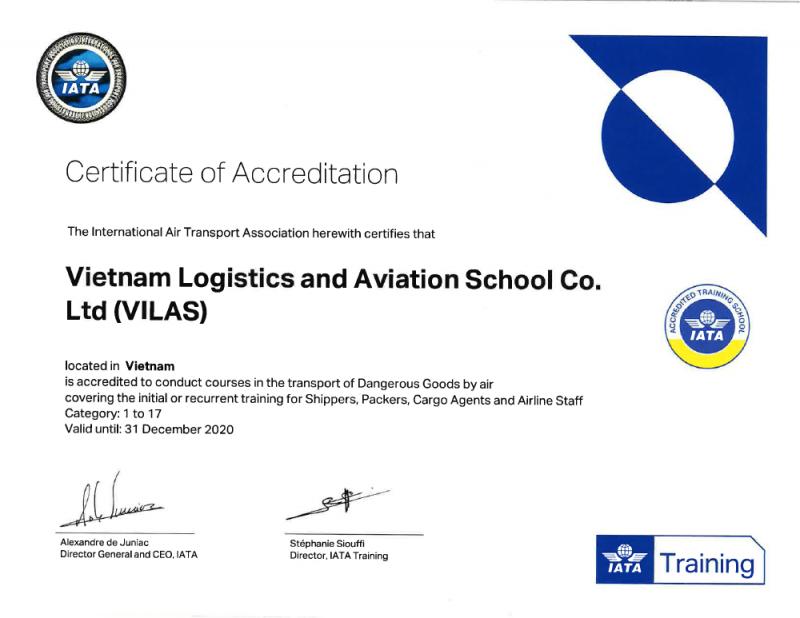 VILAS - IATA Certificate of Accredited